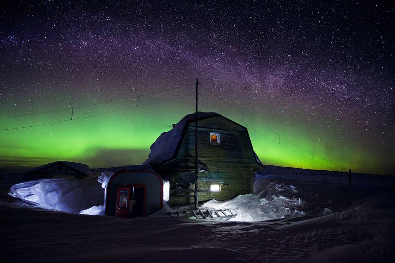 Маньпупунёр, Коми, зима, млечный путь, северное сияние Дом егеряphoto preview