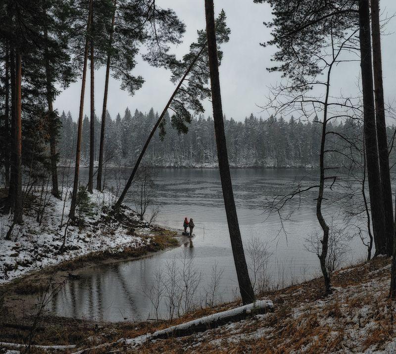 осень,дождь,рыбалка,рыбаки,река,берег,ноябрь Дождливая рыбалкаphoto preview