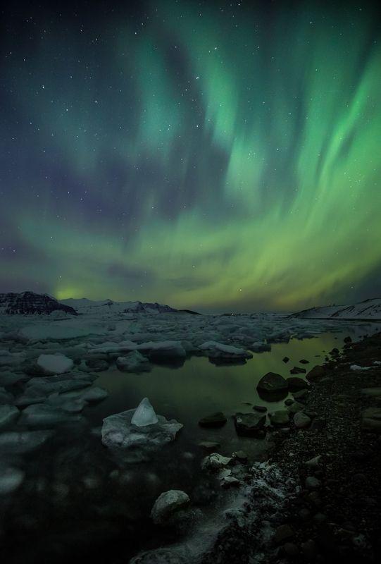 северное сияние, исландия ,голубая лагуна, лед, отражение , аврора единожды увидев, не можешь забытьphoto preview