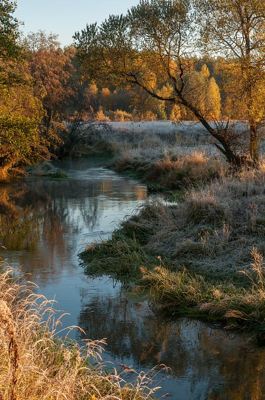 утро иней осень река photo preview