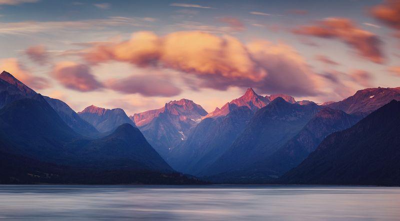 норвегия, лето, горы, панорама Последний светphoto preview
