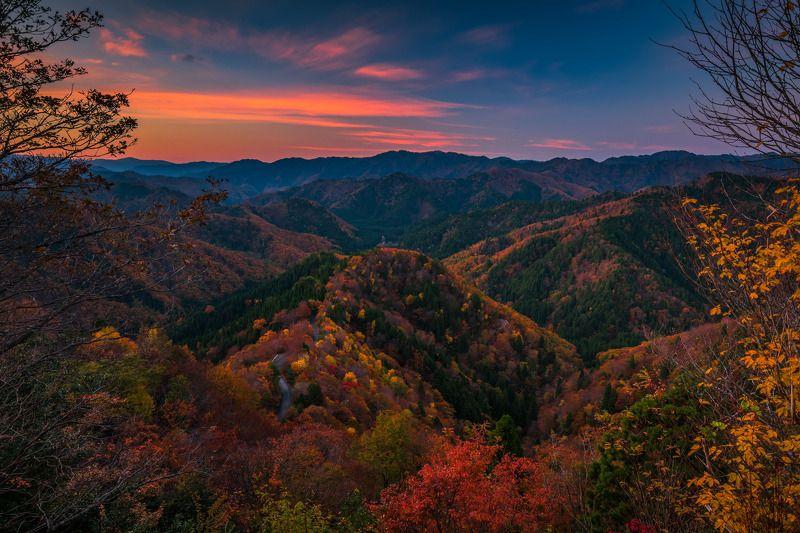 "landscape nature autumn colors  ""おにゅう峠(雲海)""photo preview"