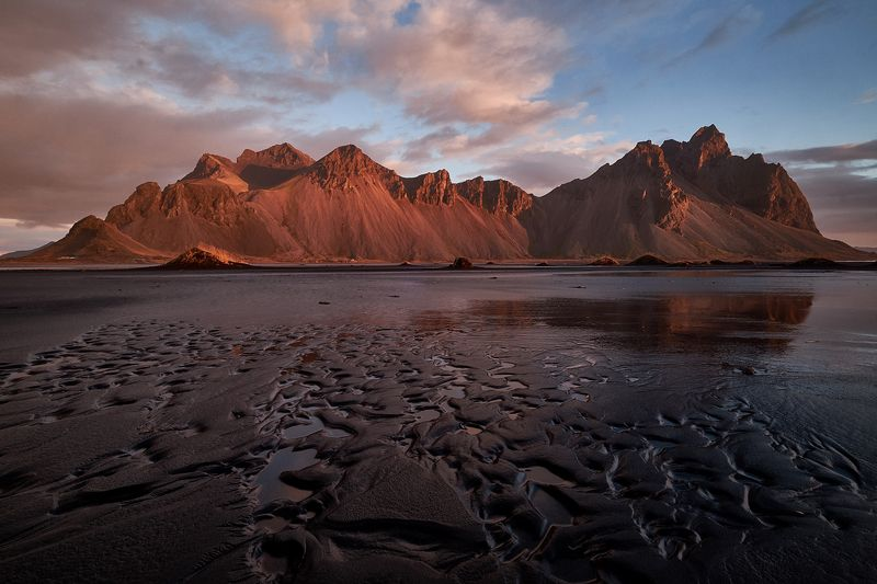 iceberg,iceland,sunset,ice,lake,clouds,mountains, vestrahorn, stoksness Mo3photo preview