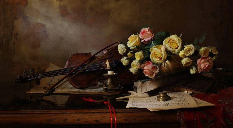 скрипка, цветы, розы, свет, музыка, натюрморт Натюрморт со скрипкойphoto preview