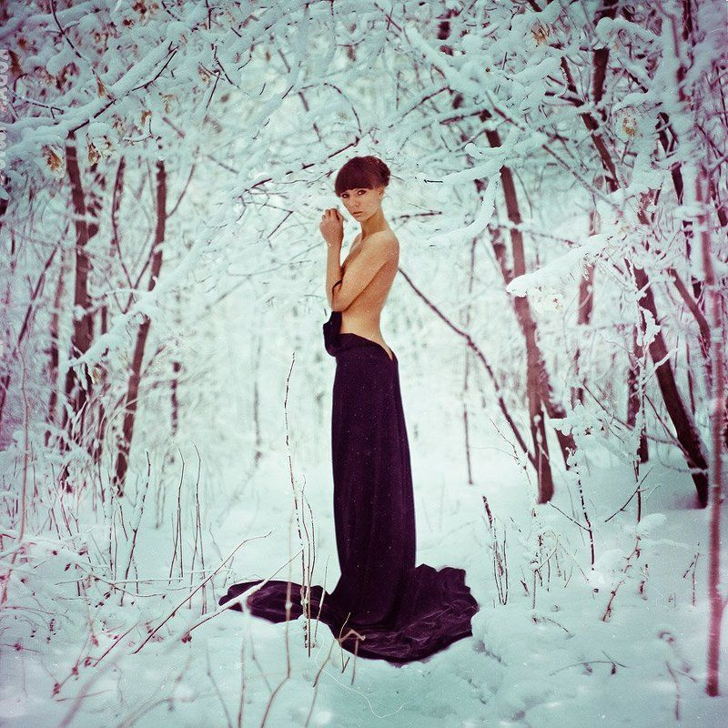 ню, зима, девушка, лес ***photo preview