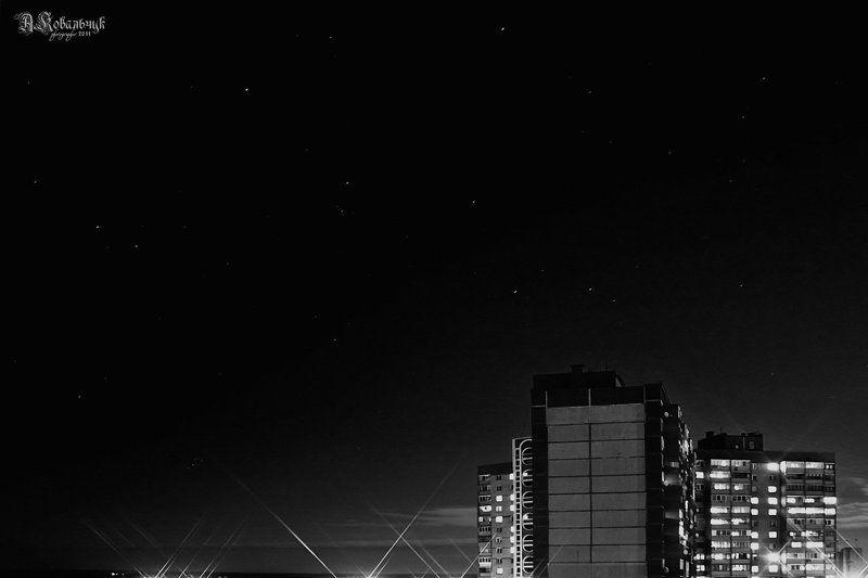 город, звезды, черный, ночь, Звезды над городомphoto preview