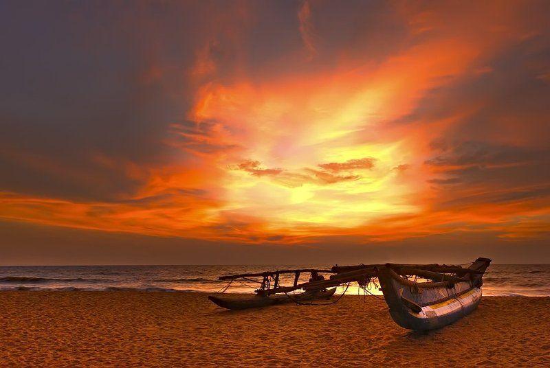 шри, ланка, индийский, океан, закат, катамаран, аюбован Aubowan Sri-Lanka!photo preview