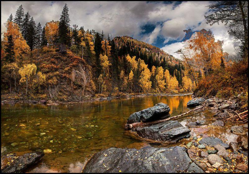 алтай, осень, кумир, река, вода, горы, каньон, золото Золотая Рекаphoto preview