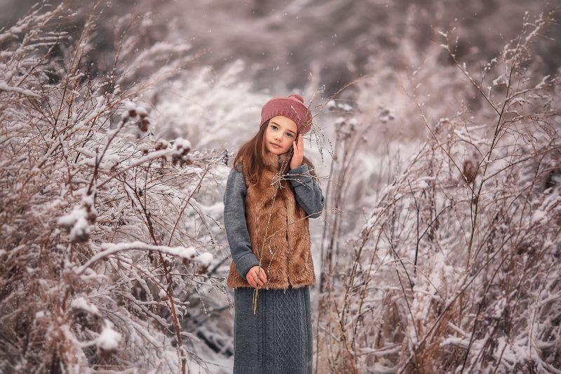 Девочка, зима, модель, портрет Верочкаphoto preview
