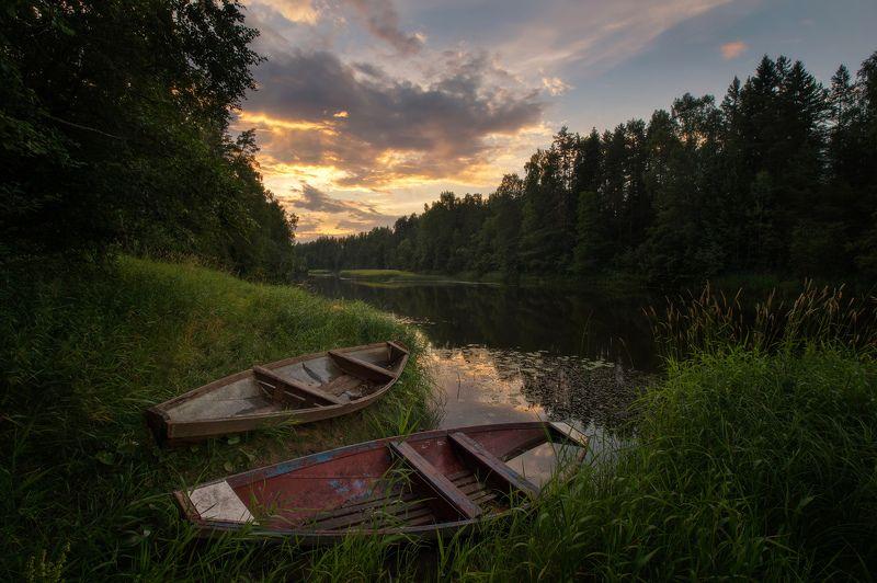 пейзаж, река, закат Стоянкаphoto preview