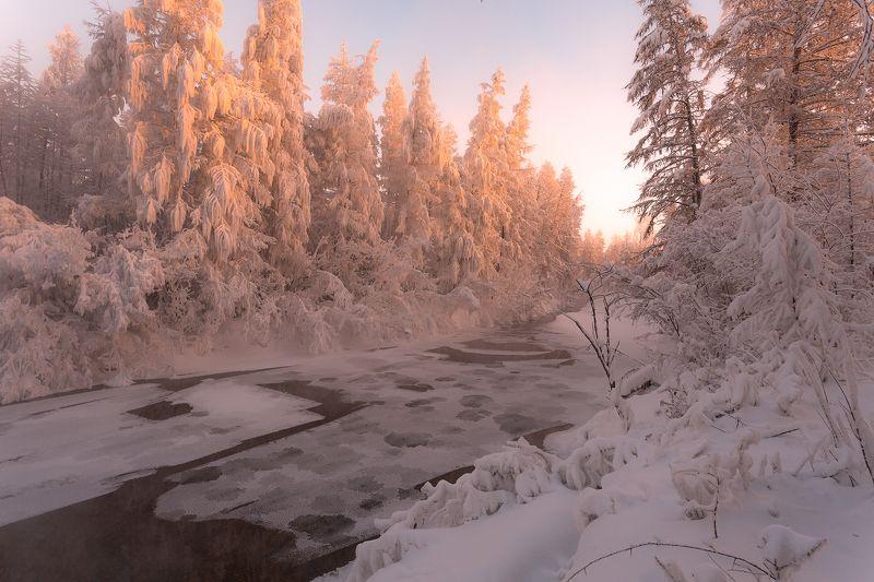 зима, холод, речка, снег, лед, якутия, ойиякон, полюс холода, природа, путешествия Рождественское утроphoto preview
