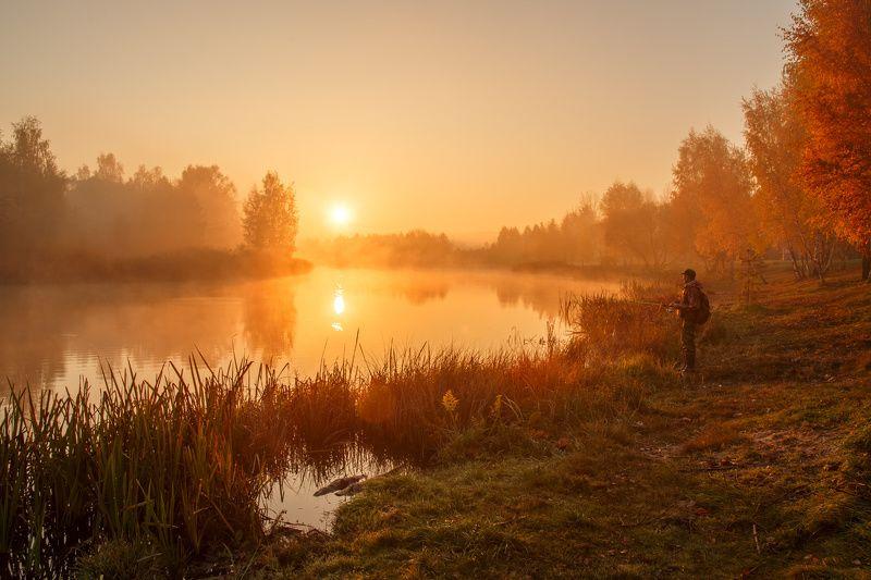 утро, осень, туман, рассвет, тишина, октябрь, рыбалка, минск, беларусь Рыбалка на рассветеphoto preview