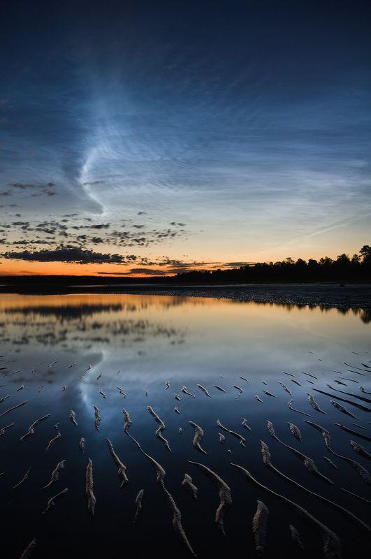 белое, море, серебристые, облака, ночь, sea, clouds, night photo preview