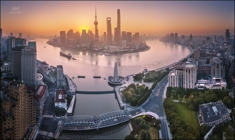 Китай, Шанхай, дрон, рассвет, dji, mavicpro Утро в Шанхаеphoto preview
