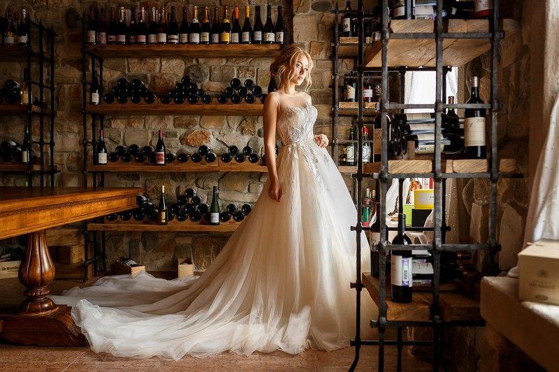 невеста, портрет, платье, свадьба, девушка, модель, погреб, вино погребокphoto preview