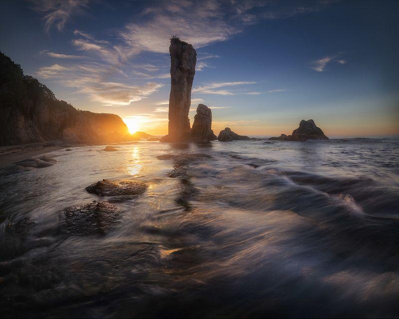 приморский край море солнце рассвет владивосток заповедник скалы Заповедная безмятежностьphoto preview