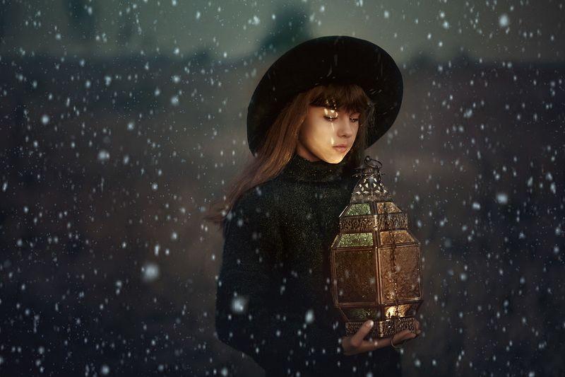арт, осень, фонарь, свет, цвет, шляпа, девочка, художественный, сказочный, волшебный, ...photo preview