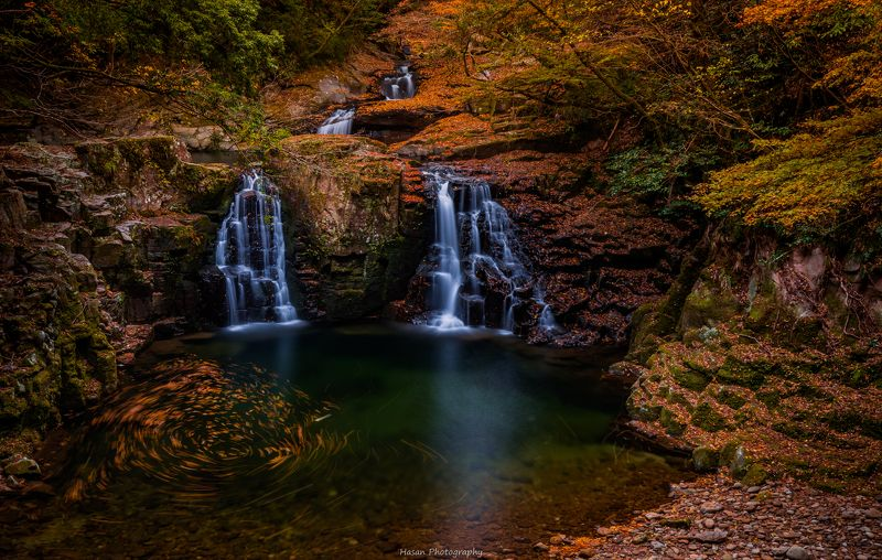 nature autumn waterfall landscape mountain rocks  [ The 48 waterfalls of Akame ]photo preview
