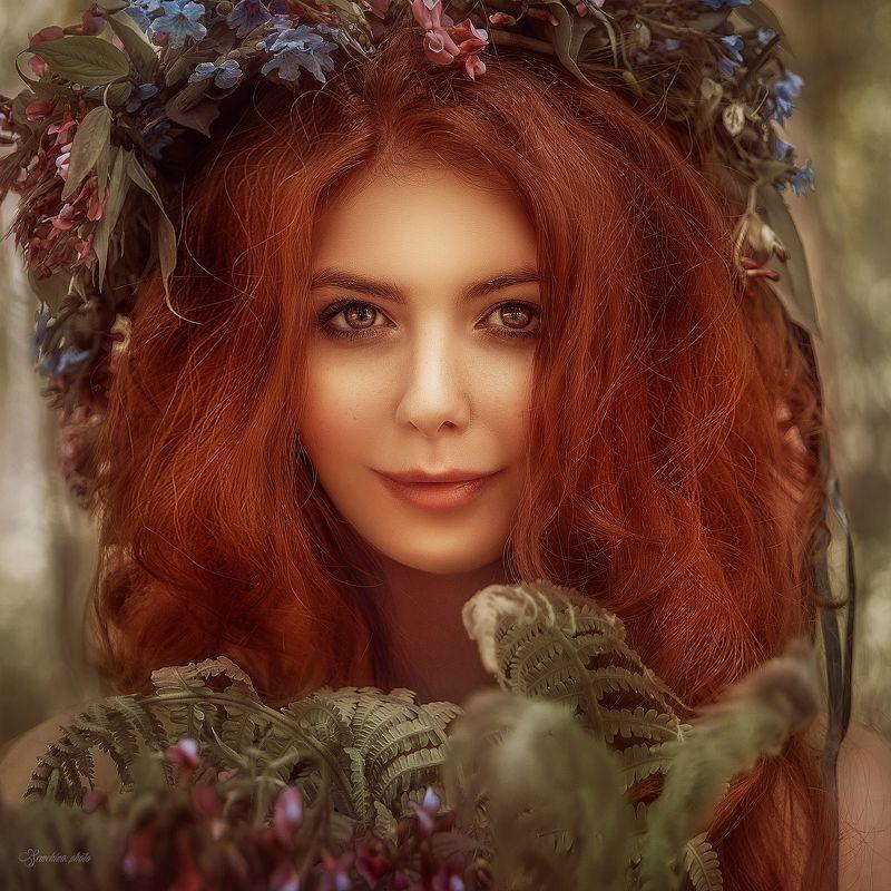 девушка, портрет, рыжая, лето, нимфа, girl, portreit, red hair, summer, nymph photo preview