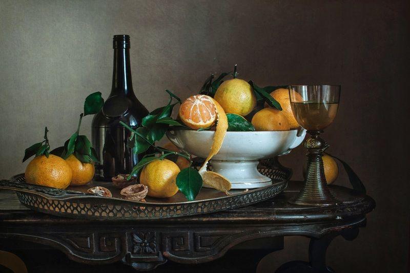 натюрморт, стекло, бокал, рёмер, фрукты, мандарины Вино и мандариныphoto preview