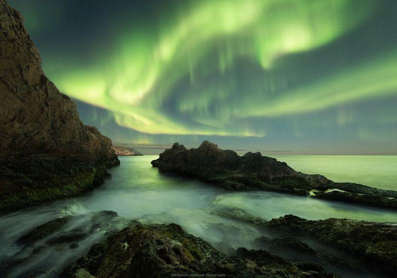 северное сияние, полярное сияние, заполярье, кольский п-ов Скалистый берегphoto preview