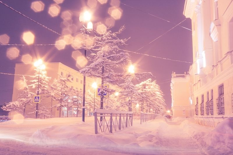 магадан, вечер, снег, зима, метель,север, холод, снегопад Вечерний Магаданphoto preview
