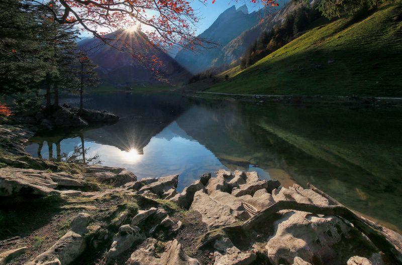 швейцария, швейцарские альпы, альпы, закат, горы, озеро Вечер в Швейцарских Альпахphoto preview
