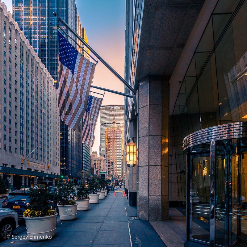 город нью-йорк street new york Manhattan eveningsphoto preview