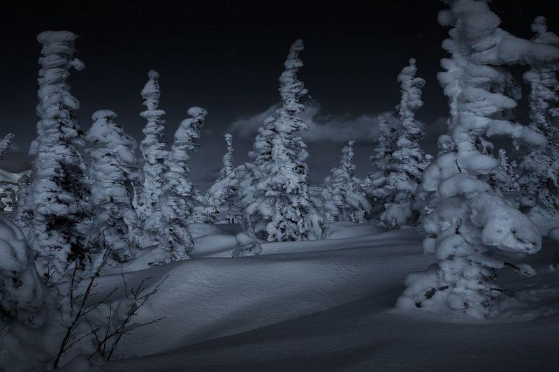 зима, кузбасс, шерегеш, снег, горы, таштагол, ночь Сибирская зима. Горная Шория.photo preview