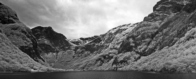 Норвегия, пейзаж, черно-белое, фьорд, инфракрасная фотография, панорама, ir, море Норвежские фьордыphoto preview
