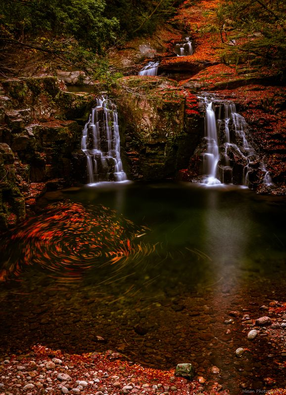 waterfalls nature landscape autumn rocks mountain  [ The 48 waterfalls of Akame ] photo preview