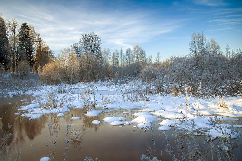 зима, снег, река, деревья, парк, утро И снова зима...photo preview