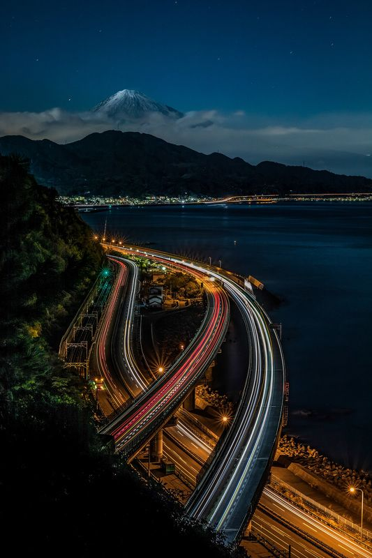 mount fuji nightscape long exposure sea road dawn japan nature lights  The majestic Mt. Fujiphoto preview