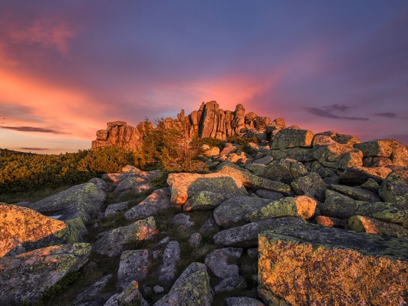 sunset, czech, chzechia, krkonoše, giant moutains Sunset on the rocks..photo preview