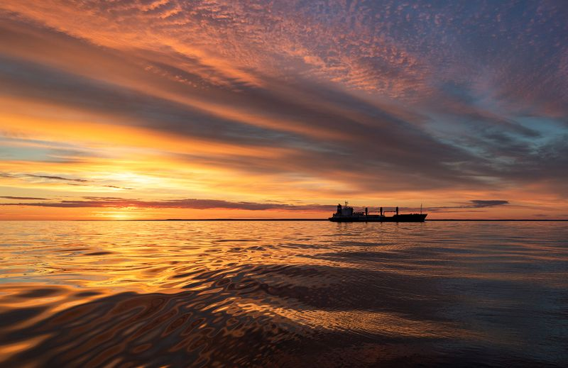 Закат. Финский залив. Золотые закаты на Финском заливе.photo preview