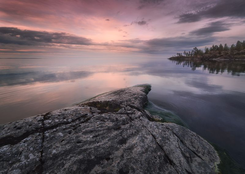 ладожское озеро, ладожские шхеры, природа, пейзаж, ладога, nature, landscape, reflections Ладога на закатеphoto preview