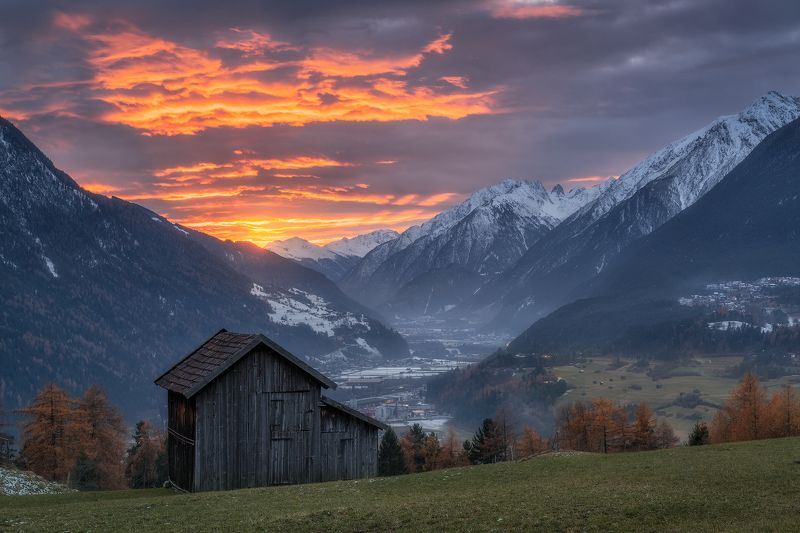 acres, agicutural building, agriculture, alps, austria, austrian alps, barn, clouds, evening, evening glow, farmhouse, fog, foggy, forest, hey barn, hill, hills, houses, hovel, hut, imst, inn valley, inntal, karroesten, karrösten, landeck, landscape, larc Winter is Comingphoto preview
