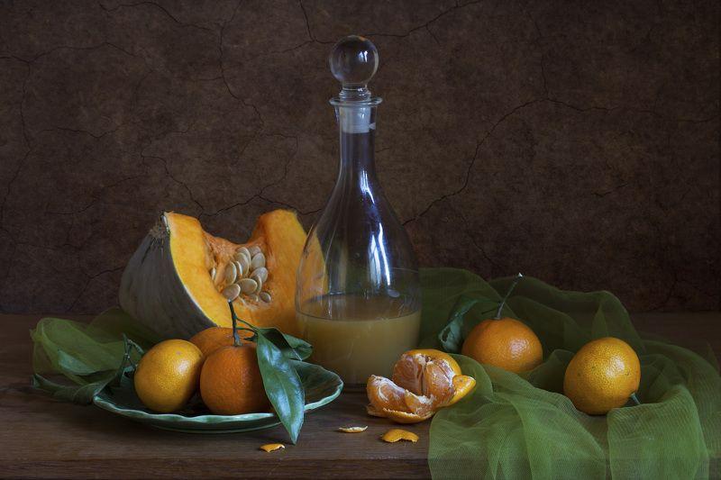 Натюрморт с тыквой и мандаринамиphoto preview