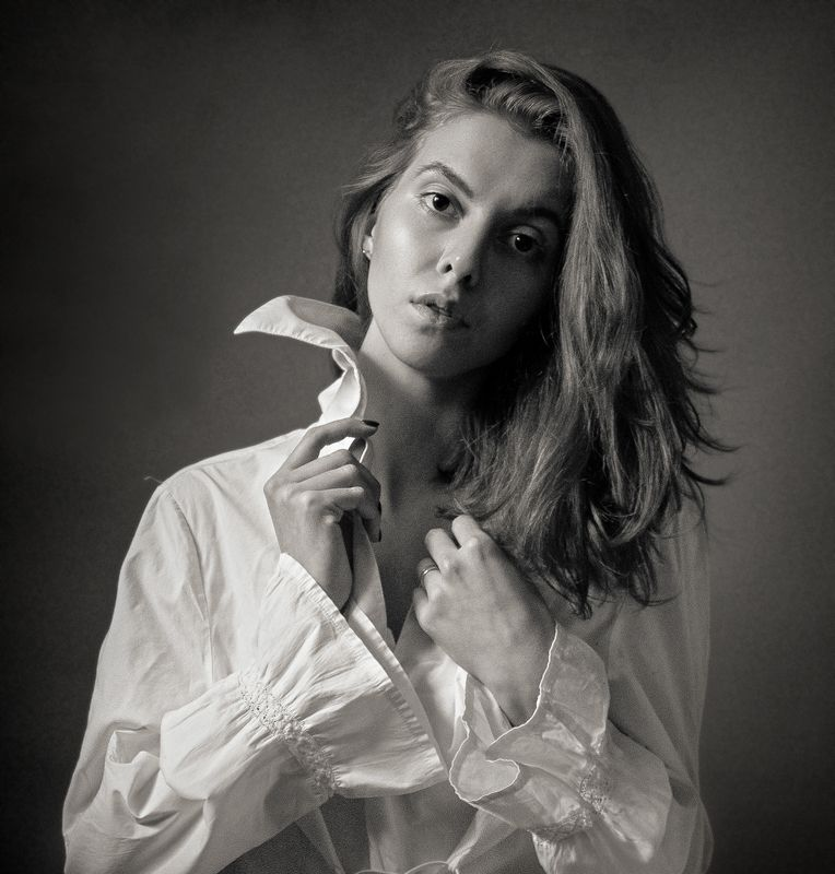 портрет, черное и белое, чбпортрет, фешнпортрет, фешн, студийный портрет, Надеждаphoto preview