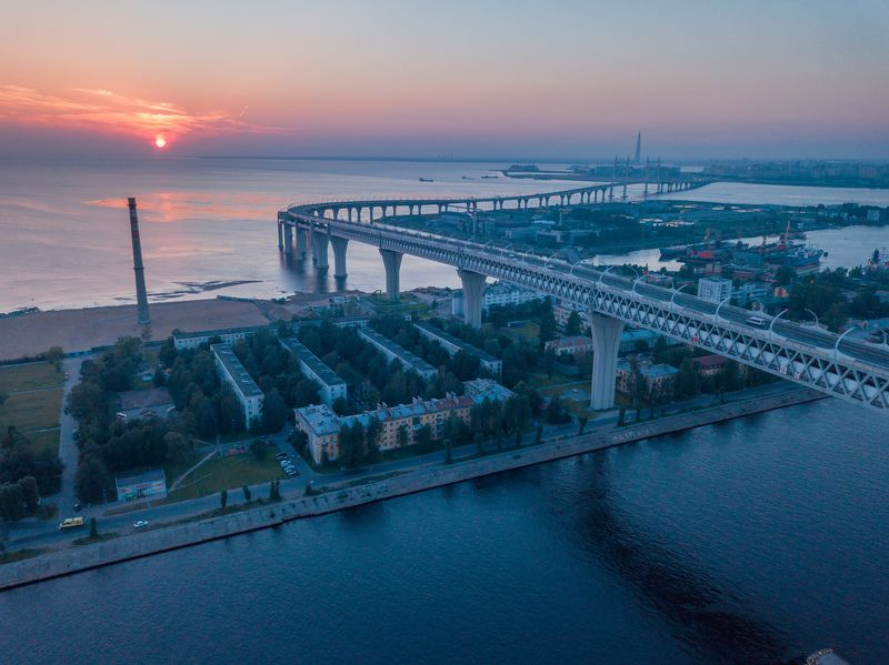 зсд, петербург, закат Highway in St. Petersburgphoto preview