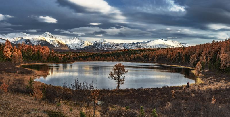 киделю, осень, алтай, горный алтай,, северо-чуйский хребет Закат на горном озере.photo preview