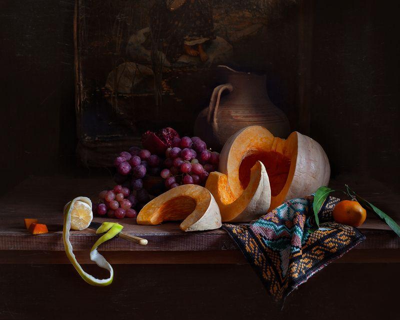 натюрморт, still life, тыква. виноград. лимон, арт, картина, евгений корниенко Натюрморт с тыквой и виноградомphoto preview
