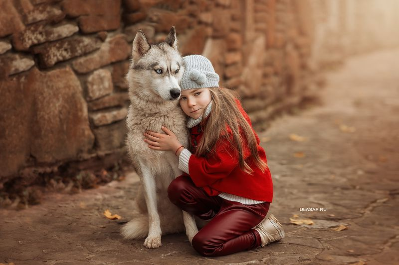 портрет, осень, девочка, girl, животные, собака, dog, друзья, солнышко, лучи, happy, happiness, сказка, волшебство, autumn ***photo preview