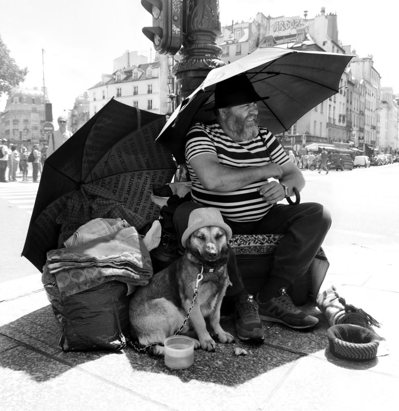 street, reportage, paris, man, pets, clochard, contrast, shadow, man, dog, hat, umbrella Островphoto preview