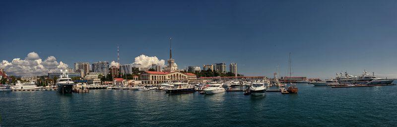 сочи, морской порт, город, море, яхты Сочи, морской порт, с воды.photo preview