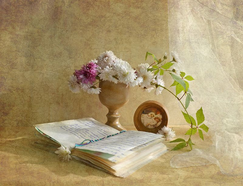 натюрморт осень утро хризантемы тетрадь сказка Машина сказкаphoto preview