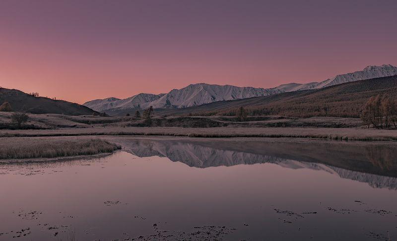 джангысколь, осень, горный алтай, северо-чуйский хребет,  ештыкель Рассвет над Джангысколем.photo preview