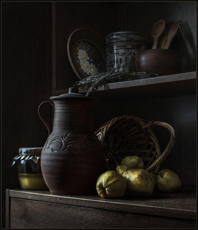 груши, кувшин, мёд, корзина, натюрморт ***photo preview