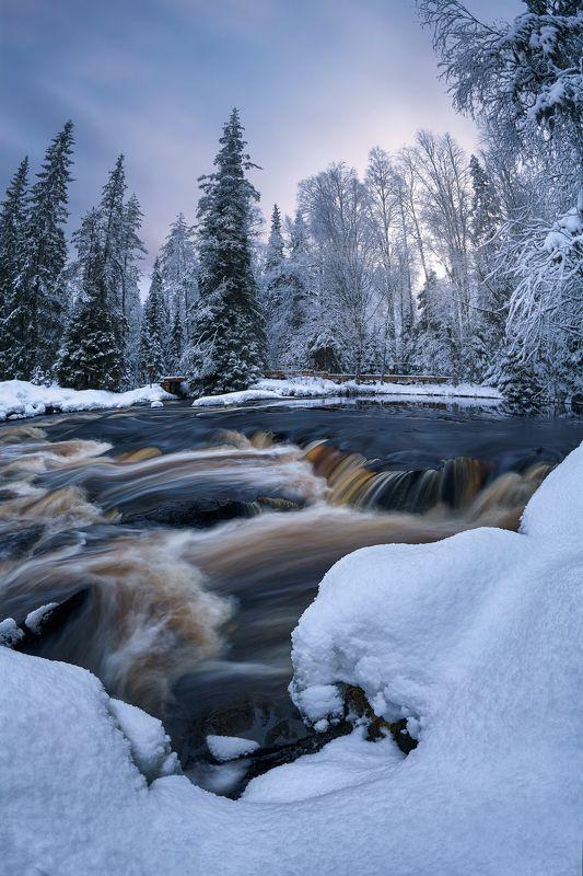 карелия, рускеала, тохмайоки, зима Зимнее утро на берегу реки Тохмайокиphoto preview