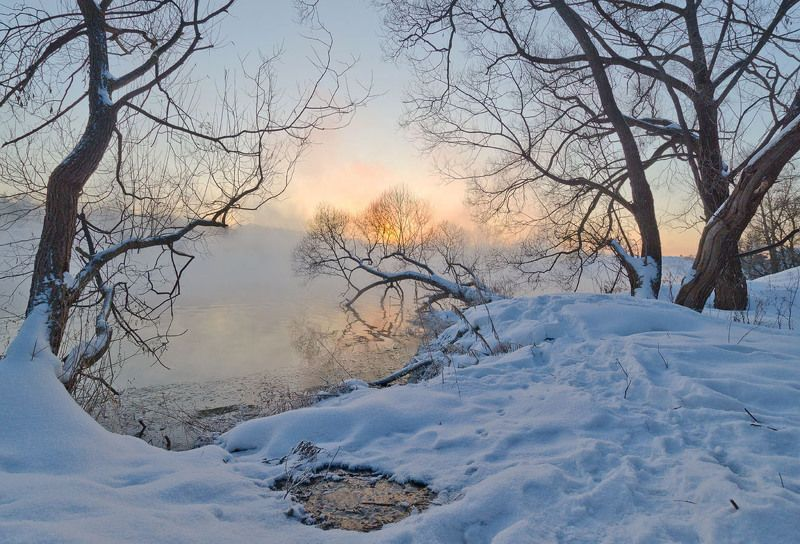 утро, рассвет, зима, озеро, горячка, пейзаж, природа Время рассветаphoto preview